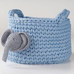 Cesto Organizador Maxi Crochê Elefantinho Azul