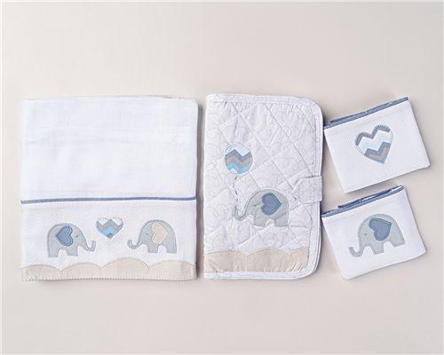 Necessaire com Fraldas Elefantinho Azul 04 Peças