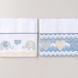 Fraldas de Ombro Elefantinho Azul 02 Peças
