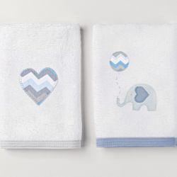 Fraldas de Boca Atoalhadas Elefantinho Azul 02 Peças