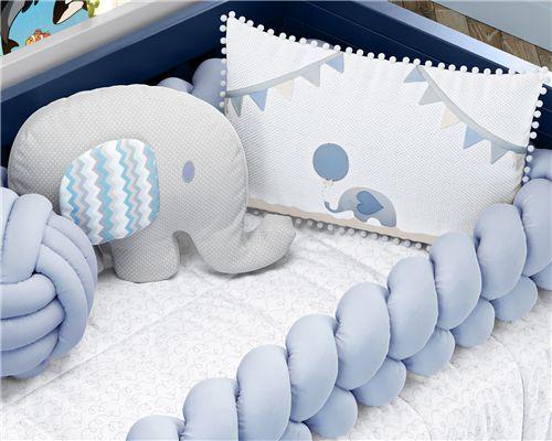 Kit Berço Trança Elefantinho Azul