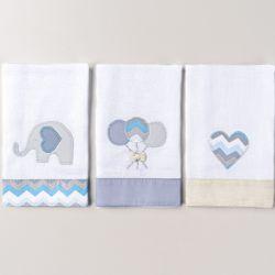 Fraldas de Boca Elefantinho Azul 03 Peças