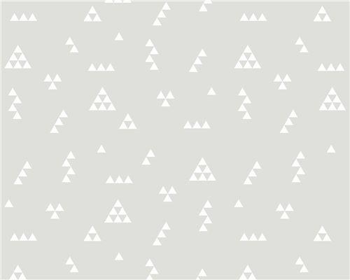 Papel de Parede Mini Triângulos Fundo Cinza com Branco