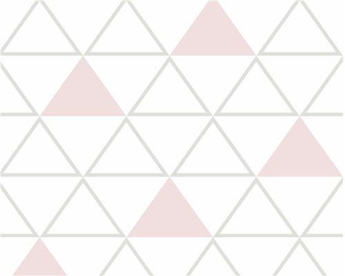 Papel de Parede Maxi Triângulos Cinza e Rosa Antigo