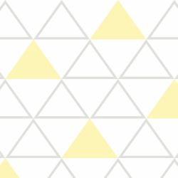 Papel de Parede Maxi Triângulos Cinza e Amarelo