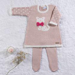 Saída Maternidade Tricot Vestido Gatinha Rosé 02 Peças