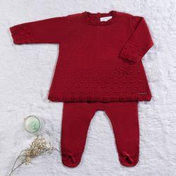 Saída Maternidade Tricot Bolinha Vermelho Hibisco 02 Peças