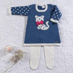 Saída Maternidade Tricot Vestido Gatinha Azul 02 Peças