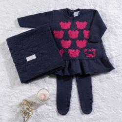 Saída Maternidade Tricot Vestido Ursinha Azul Marinho 03 Peças