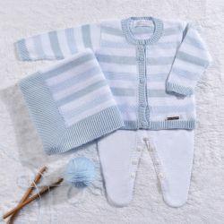 Saída Maternidade Tricot Casaquinho Listrado Azul Bebê/Branco 03 peças