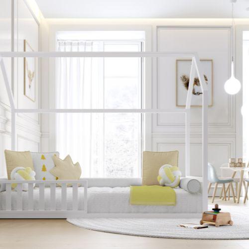 Cama Casinha Montessori Branco Solteiro 4 em 1 - Puppi
