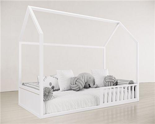 Cama Casinha Montessori Solteiro 4 em 1 Branco