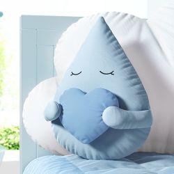Almofada Gotinha com Coração Azul 30cm