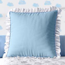 Almofada Quadrada Azul Babadinho Branco 38cm
