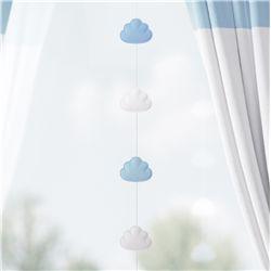 Pêndulo Cortina Nuvem Azul/Branco