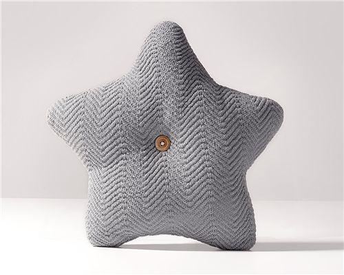 Almofada Estrela Tricot Espinha de Peixe Cinza 35cm