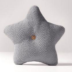 Almofada Estrela Tricot Espinha de Peixe Cinza