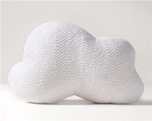 Almofada Nuvem Tricot Espinha de Peixe Branco 34cm