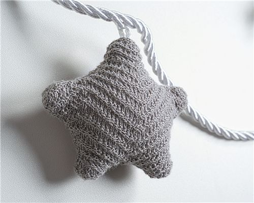 Varal Decorativo Estrelas Tricot e Algodão Branco/Verde
