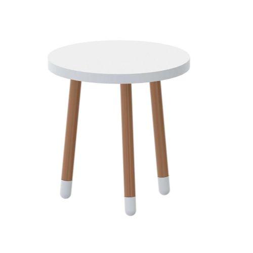 Mesa de Apoio Redonda Joy Branco/Madeira 50cm