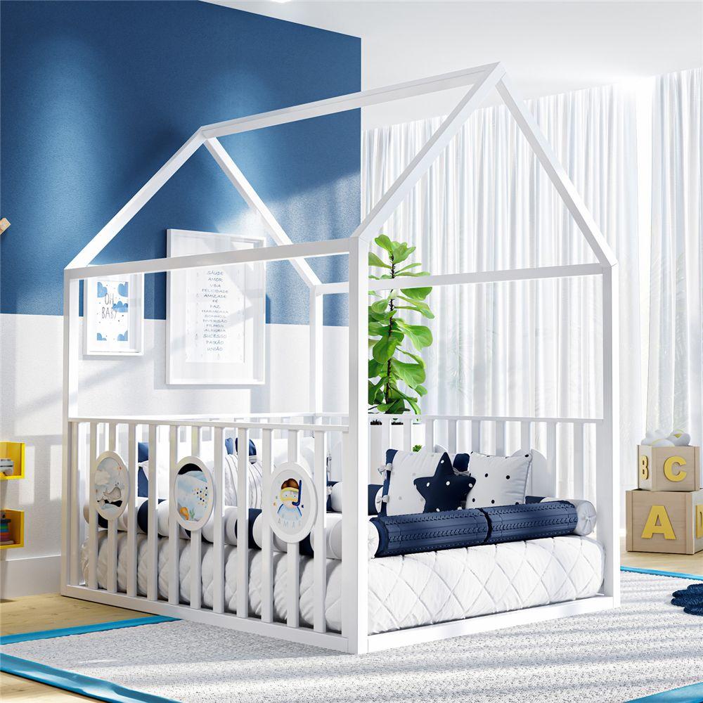 Cama Infantil Montessoriana Branca com Grade Grão de Gente