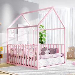 Cama Casinha Montessoriana Padrão Casal com Grade Rosa