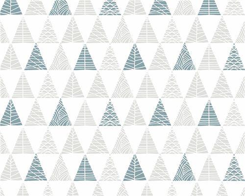 Papel de Parede Triângulos com Textura Cinza com Azul