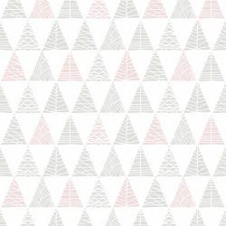 Papel de Parede Triângulos com Textura Cinza com Rosa Antigo