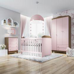 Quarto de Bebê Mel Flat Rosa com Berço/Cômoda e Guarda-Roupa 3 Portas