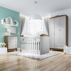 Quarto de Bebê Mel Flat Cinza com Berço/Cômoda e Guarda-Roupa 3 Portas