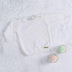 Suéter Tricot com Pérolas Branco