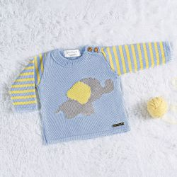 Casaquinho Tricot Elefantinho Azul/Amarelo