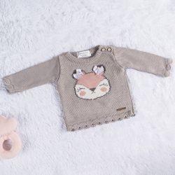 Suéter Tricot Raposinha Cinza/Nude Rosé