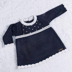 Vestido Tricot com Pérolas Azul Marinho
