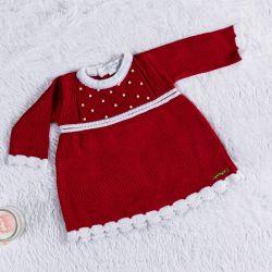 Vestido Tricot com Pérolas Vermelho