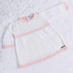 Vestido Tricot com Pérolas Branco/Rosa