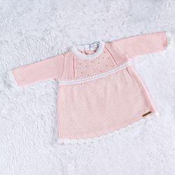 Vestido Tricot com Pérolas Rosa