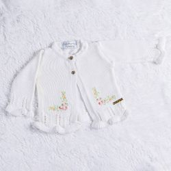 Casaquinho Tricot Bordado Branco