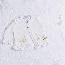 Cardigan Tricot Bordado Branco