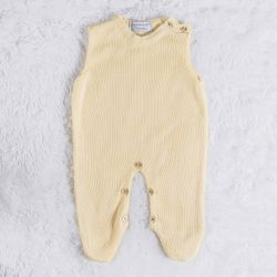 Macacão Tricot Amarelo Creme