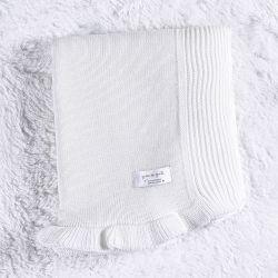 Manta Tricot Babado Branco
