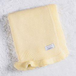 Manta Bebê Tricot Babado Amarelo Creme 80cm