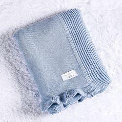 Manta Bebê Tricot Babado Azul Algodão Doce 80cm