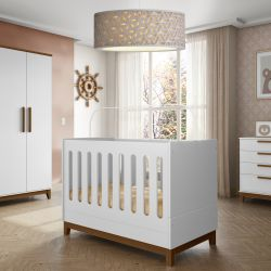 Quarto de Bebê Ambientare Branco/Madeira com Berço/Cômoda e Guarda-roupa 4 Portas