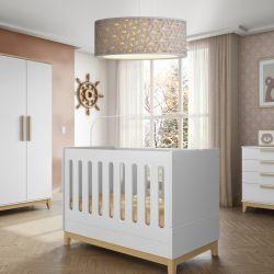 Quarto de Bebê Ambientare Branco/Madeira Natural com Berço/Cômoda e Guarda-roupa 4 Portas