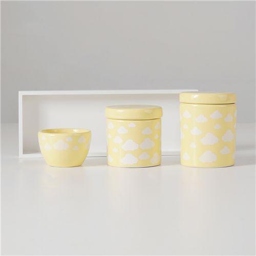 Kit Higiene Cerâmica Nuvem Amarelo