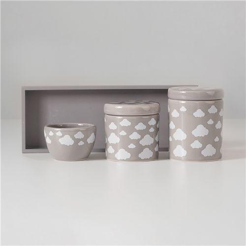 Kit Higiene Cerâmica Nuvem Fendi