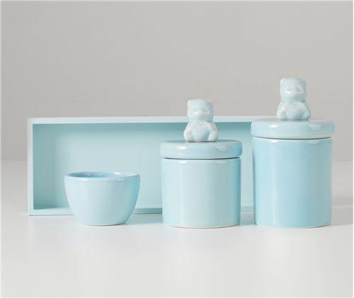 Kit Higiene Cerâmica Urso Azul