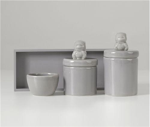 Kit Higiene Cerâmica Urso Cinza