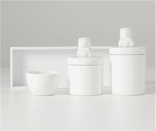 Kit Higiene Cerâmica Urso Branco